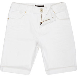Boys white denim skinny shorts
