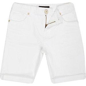 Boys white denim skinny shorts