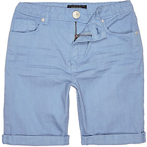 Boys blue denim skinny shorts