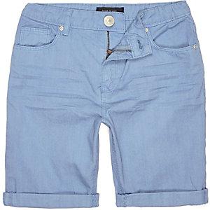 Boys blue denim skinny shorts