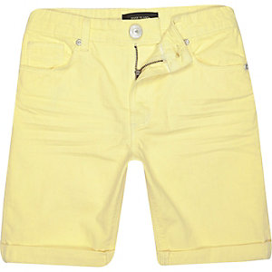 Boys yellow denim skinny shorts