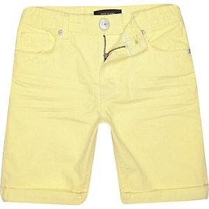 Boys yellow denim skinny shorts