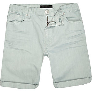 Boys light green denim skinny shorts