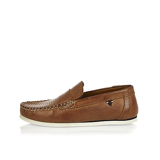 Boys light brown leather moccasin loafers