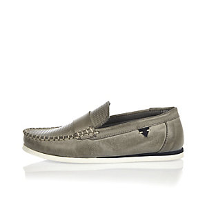 Boys grey leather loafers