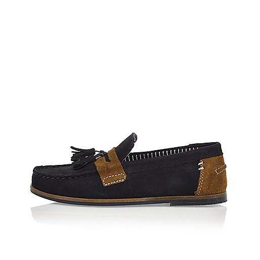Boys navy suede tassel loafers