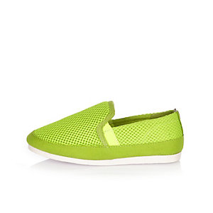 Boys bright green mesh pumps