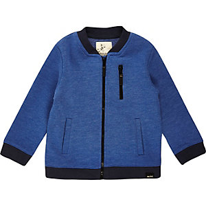 Mini boys blue zip bomber jacket