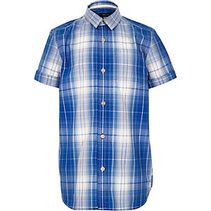 Boys blue checked short sleeve shirt