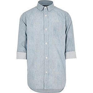 Chemise en jean rayée bleue pour garçon