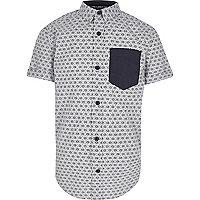 Boys white Japanese print short sleeve shirt