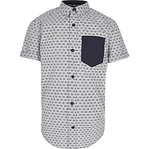 Boys white Japanese print short sleeve shirt