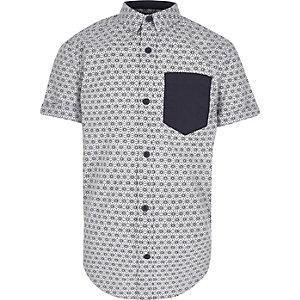 Chemise imprimé japonais blanche à manches courtes pour garçon