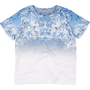 Mini boys blue floral print t-shirt
