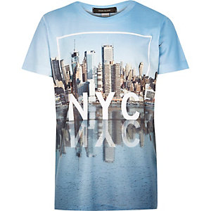 Boys white New York reflection print t-shirt