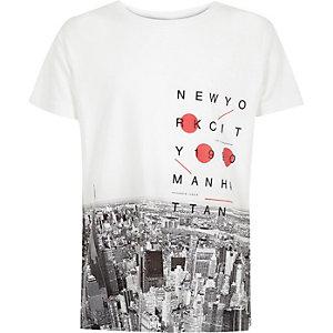 Boys white New York City print t-shirt