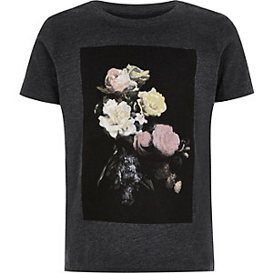 Boys black floral print t-shirt