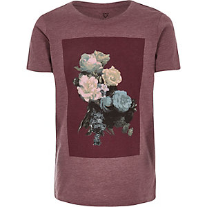 Boys red floral print t-shirt