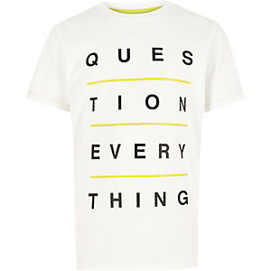 Boys white text print t-shirt