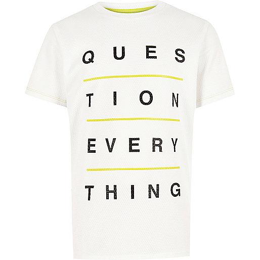 Boys white text print t-shirt