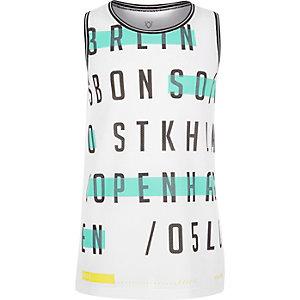Boys white wordy print vest