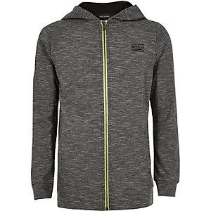 Boys grey zip stripe hoodie