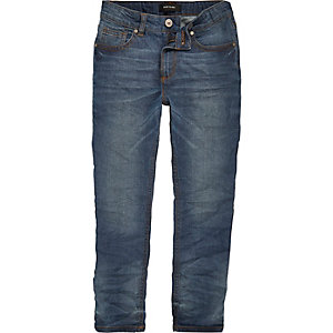 Boys dusty blue wash Sid skinny jeans