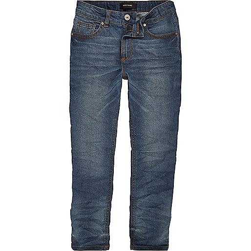 Boys dusty blue wash Sid skinny jeans