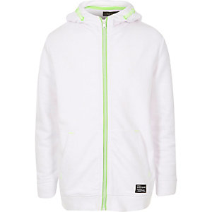 Boys white fluro trim hooded jacket