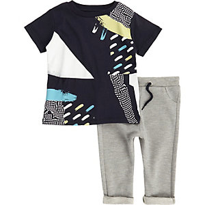 Mini boys navy paint t-shirt joggers outfit
