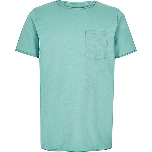 Boys turquoise textured t-shirt