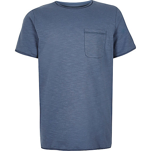 T-shirt bleu chiné texturé pour garçon