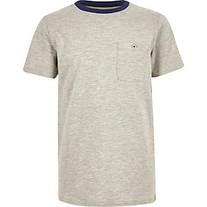 Boys grey contrast neck t-shirt