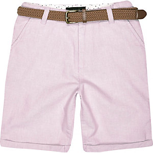 Boys pink belted Oxford shorts