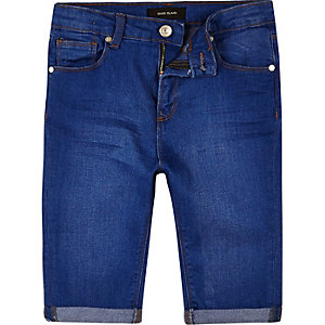 Boys blue skinny denim shorts