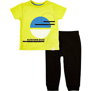 Mini boys yellow t-shirt joggers outfit