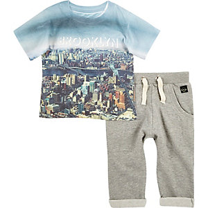 Mini boys Brooklyn t-shirt joggers outfit