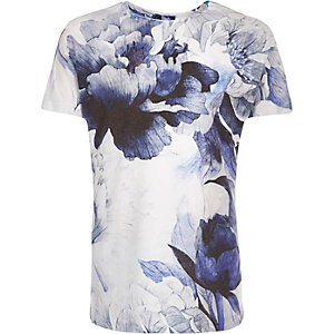 Boys blue flower print t-shirt