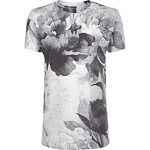 Boys grey flower print t-shirt