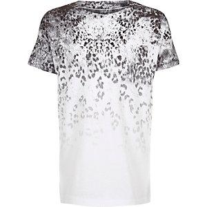 Boys white faded leopard print t-shirt