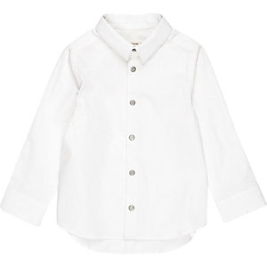 Mini boys white snappy shirt