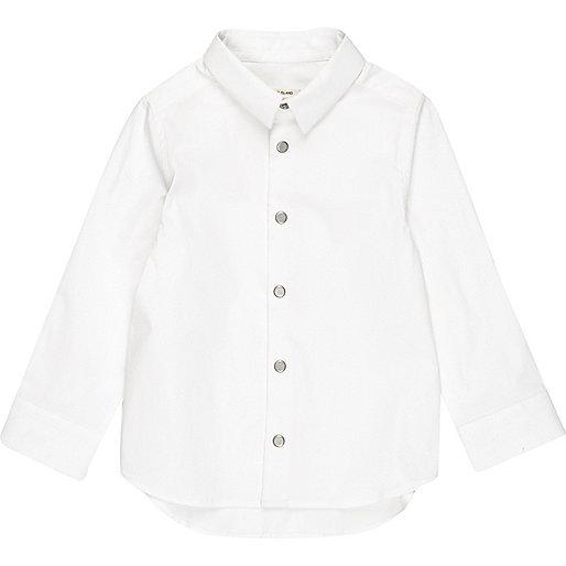 Mini boys white snappy shirt