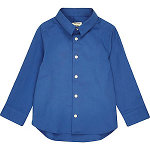 Mini boys navy snappy shirt