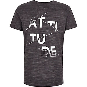 Boys grey print t-shirt
