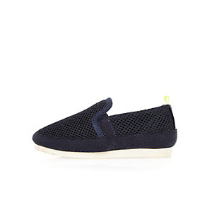 Mini boys navy mesh slip on sneakers
