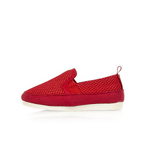 Mini boys red mesh slip on sneakers
