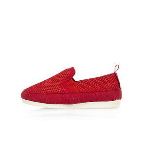 Mini boys red mesh slip on sneakers