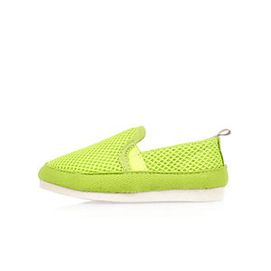 Mini boys lime mesh slip on trainers