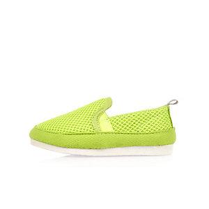 Mini boys lime mesh slip on sneakers