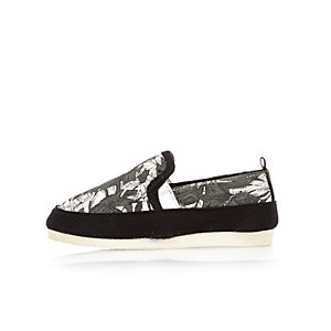 Mini boys white leaf print slip on sneakers